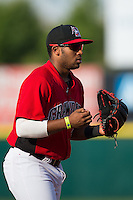 Hickory Crawdads third baseman Josh Morgan (3) on defense against the Greensboro Grasshoppers at L.P. Frans Stadium on May 6, 2015 in Hickory, North Carolina.  The Crawdads defeated the Grasshoppers 1-0.  (Brian Westerholt/Four Seam Images)