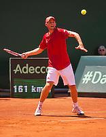 Austria, Kitzbühel, Juli 17, 2015, Tennis, Davis Cup, First round match between Dominic Thiem (AUT) vs Thiemo de Bakker (NED)  pictured: Dominic Thiem <br /> Photo: Tennisimages/Henk Koster