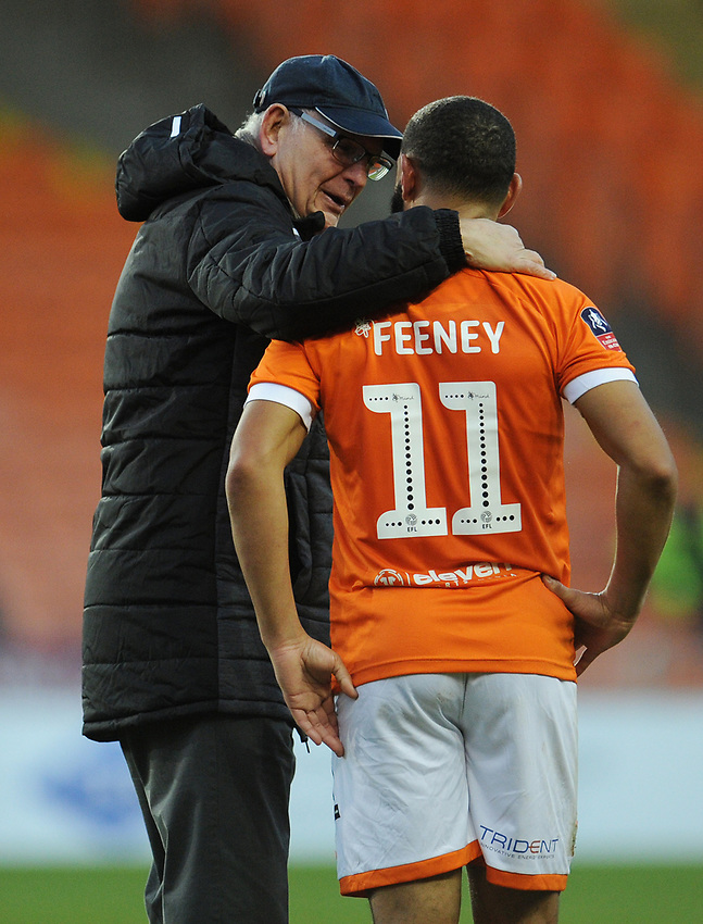 Maidstone United manager John Still chats with Blackpool's Liam Feeney at full-time<br /> <br /> Photographer Kevin Barnes/CameraSport<br /> <br /> Emirates FA Cup Second Round - Blackpool v Maidstone United - Sunday 1st December 2019 - Bloomfield Road - Blackpool<br />  <br /> World Copyright © 2019 CameraSport. All rights reserved. 43 Linden Ave. Countesthorpe. Leicester. England. LE8 5PG - Tel: +44 (0) 116 277 4147 - admin@camerasport.com - www.camerasport.com