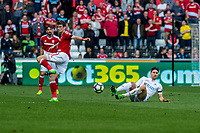 Sunday April 02 2017 <br /> Pictured: Federico Fernandez of Swansea City in action <br /> Re: Premier League match between Swansea City and Middlesbrough at The Liberty Stadium, Swansea, Wales, UK. SUnday 02 April 2017