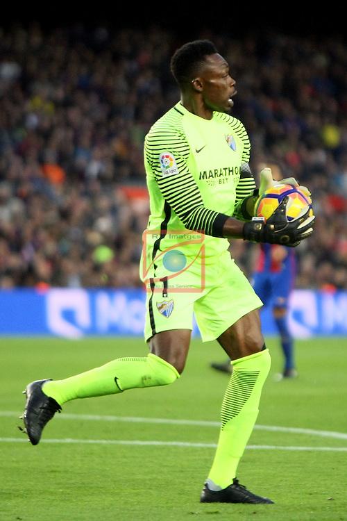 League Santander 2016/2017. Game: 12.<br /> FC Barcelona vs Malaga CF: 0-0.<br /> Carlos Kameni.