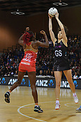 7th September 2017, Te Rauparaha Arena, Wellington, New Zealand; Taini Jamison Netball Trophy; New Zealand versus England;  Silver Ferns Bailey Mes takes a pass with Englands captain Ama Agbeze pressing
