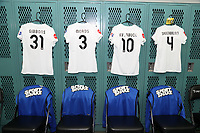 Cary, North Carolina  - Saturday June 03, 2017: Kits of Christina Gibbons, Becca Moros, Yael Averbuch, and Becky Sauerbrunn in the FCKC locker room prior to a regular season National Women's Soccer League (NWSL) match between the North Carolina Courage and the FC Kansas City at Sahlen's Stadium at WakeMed Soccer Park. The Courage won the game 2-0.