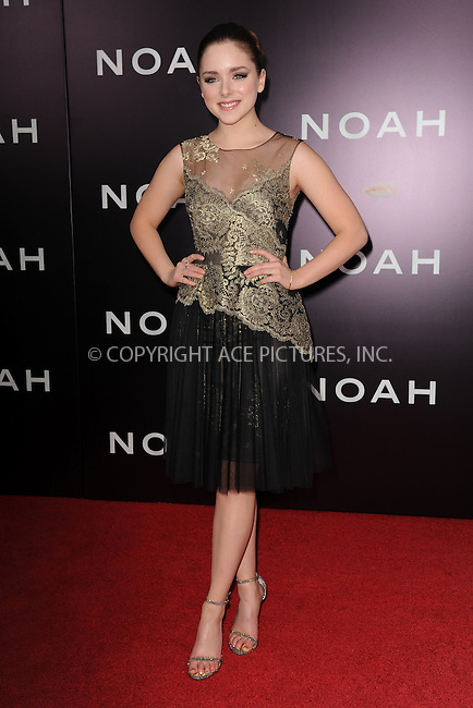 WWW.ACEPIXS.COM<br /> March 26, 2014 New York City<br /> <br /> Madison Davenport attending the 'Noah' New York premiere at Ziegfeld Theatre on March 26, 2014 in New York City.<br /> <br /> Please byline: Kristin Callahan<br /> <br /> ACEPIXS.COM<br /> <br /> Tel: (212) 243 8787 or (646) 769 0430<br /> e-mail: info@acepixs.com<br /> web: http://www.acepixs.com
