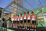 Lotto-Soudal at sign on before the start of the 112th edition of Il Lombardia 2018, the final monument of the season running 241km from Bergamo to Como, Lombardy, Italy. 13th October 2018.<br /> Picture: Eoin Clarke | Cyclefile<br /> <br /> <br /> All photos usage must carry mandatory copyright credit (© Cyclefile | Eoin Clarke)