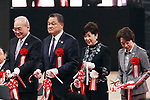 February 2, 2020, Tokyo, Japan - (L-R) Japanese Paralympic Committee president Mitsunori Torihara, Japan Olympic Committee president Yasuhiro Yamashita, Tokyo Governor Yuriko Koike and Tokyo Olympics and Paralympics Minister Seiko Hashimoto cut a ribbon at the opening ceremony for the Ariake Arena in Tokyo on Sunday, February 2, 2020. Ariake Arena, 15,000 seats multiple purpose hall will be used for Olympic volleyball and Paralympic wheelchair basketball events.    (Photo by Yoshio Tsunoda/AFLO)