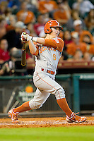 Brooks Marlow #8 of the Texas Longhorns follows through on his swing against the Tennessee Volunteers at Minute Maid Park on March 3, 2012 in Houston, Texas.  The Volunteers defeated the Longhorns 5-4.  (Brian Westerholt/Four Seam Images)