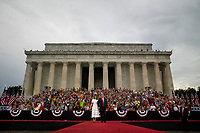 "U.S. President Donald Trump and First Lady Melania Trump arrive during the Fourth of July Celebration 'Salute to America' event in Washington, D.C., U.S., on Thursday, July 4, 2019. The White House said Trump's message won't be political -- Trump is calling the speech a ""Salute to America"" -- but it comes as the 2020 campaign is heating up. Photo Credit: Al Drago/CNP/AdMedia"