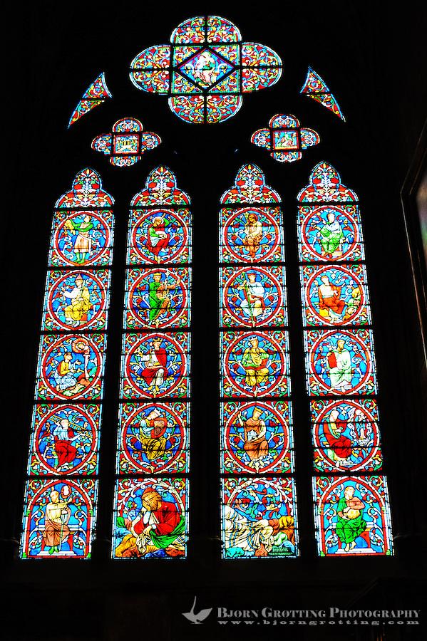 Paris, France. Interior of the Notre Dame de Paris, a Gothic, Catholic cathedral on the Île de la Cité.