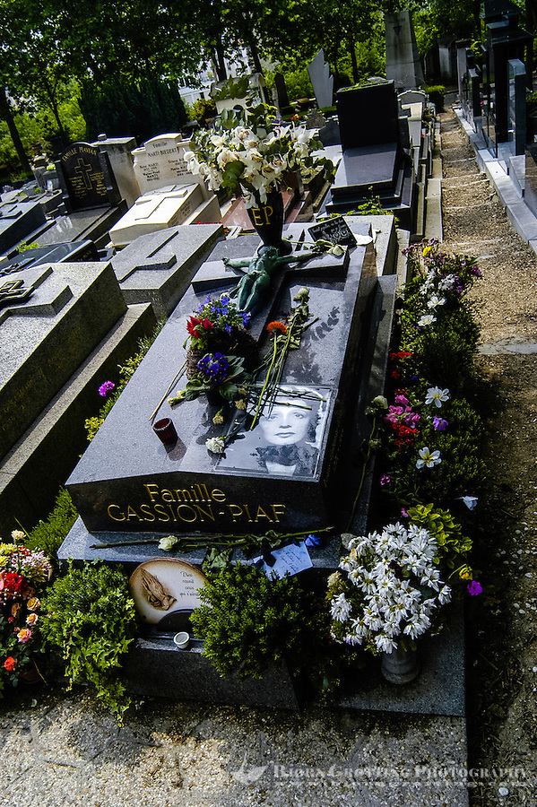 Père Lachaise Cemetery is the largest cemetery in the city of Paris, France. The grave of Edith Piaf.
