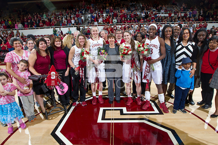 Stanford senior celebrates with their family after the Stanford women's basketball  vs Washington State at Maples Pavilion, Stanford, California on March 1, 2014.
