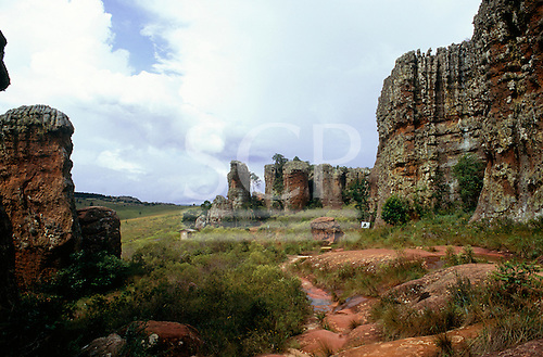 Parana State, Brazil. Natural rock formations at Vila Velha State Park; arenite sandstone stacks, etc.