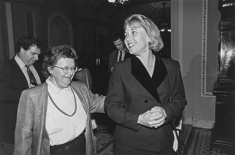 Sen. Barbara Mikulski, D-Md., with her new buddy Sen. Mary Landrieu, D-La., during Senate Freshmen Orientation on Dec. 3, 1996. (Photo by Maureen Keating/CQ Roll Call via Getty Images)