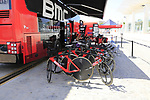 BMC Racing Team bikes lined up at the team bus before Stage 1 of the La Vuelta 2018, an individual time trial of 8km running around Malaga city centre, Spain. 25th August 2018.<br /> Picture: Eoin Clarke | Cyclefile<br /> <br /> <br /> All photos usage must carry mandatory copyright credit (© Cyclefile | Eoin Clarke)