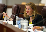 Nevada Economic Forum member Jennifer Lewis talks during a meeting at the Legislative Building in Carson City, Nev., on Friday, May 1, 2015. <br /> Photo by Cathleen Allison