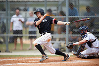Edgewood College Eagles Brodie Engel (3) at bat in front of catcher Bryan Harper during the first game of a doubleheader against Western Connecticut Colonials on March 13, 2017 at the Lee County Player Development Complex in Fort Myers, Florida.  Edgewood defeated Western Connecticut 3-0.  (Mike Janes/Four Seam Images)