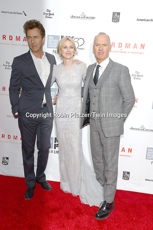 Edward Norton, Michael Keaton and Naomi Watts attend &quot;Birdman or The Unexpected Virtue of Ignorance&quot; screening at The 52nd New York Film Festival on October 11, 2014 at Alice Tully Hall in New York City. <br /> <br /> photo by Robin Platzer/Twin Images<br />  <br /> phone number 212-935-0770