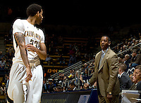 California associate head coach Travis DeCuire talks with Allen Crabbe during the game against Pepperdine at Haas Pavilion in Berkeley, California on November 13th, 2012.  California defeated Pepperdine, 79-62.