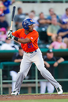 Midland RockHounds outfielder D'Arby Myers (21) at bat during the Texas League baseball game against the San Antonio Missions on July 13, 2013 at Nelson Wolff Municipal Stadium in San Antonio, Texas. The Missions defeated the Rock Hounds 5-4. (Andrew Woolley/Four Seam Images)