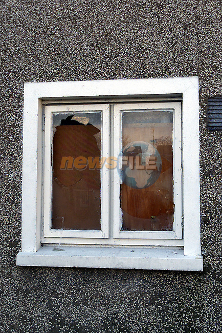 Some of the windows which have been smashed at Margaret Loughran's house in Doolargy Avenue, Dundalk, Co. Louth..Picture: Paul Mohan/Newsfile