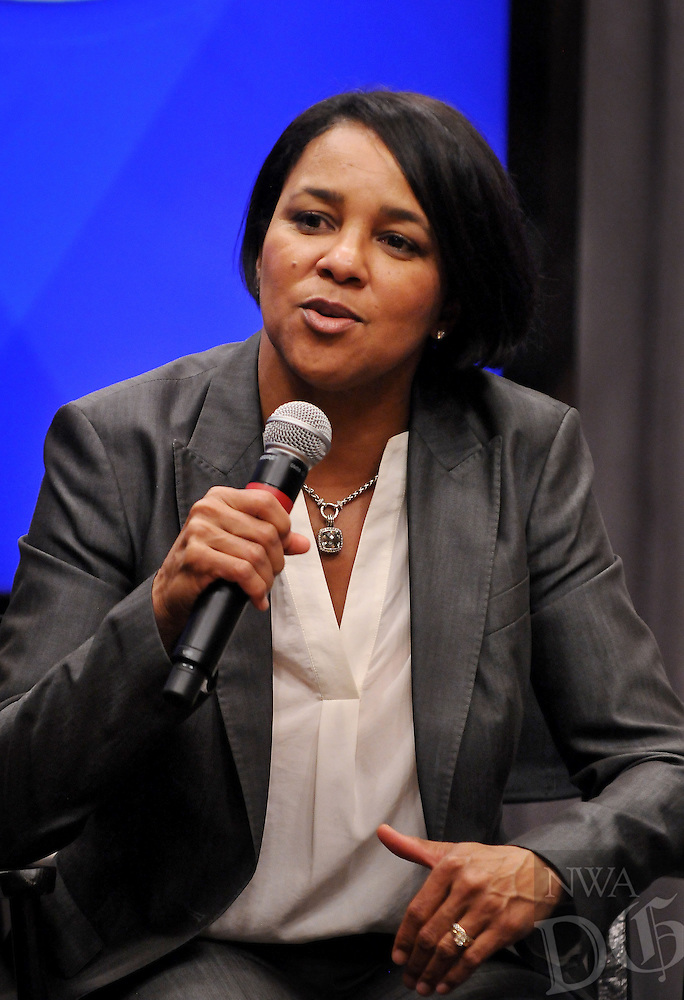 STAFF PHOTO BEN GOFF  @NWABenGoff -- 06/05/14 - Rosalind Brewer, President and CEO of Sam's Club, speaks during a press conference at the Embassy Suites Northwest Arkansas in Rogers on Thursday June 5, 2014.