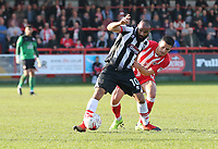Dominic Vose of Grimsby Town and Noor Husin of Accrington Stanley in midfield<br /> during the Sky Bet League 2 match between Accrington Stanley and Grimsby Town at the Fraser Eagle Stadium, Accrington, England on 25 March 2017. Photo by Tony  KIPAX / PRiME Media Images.
