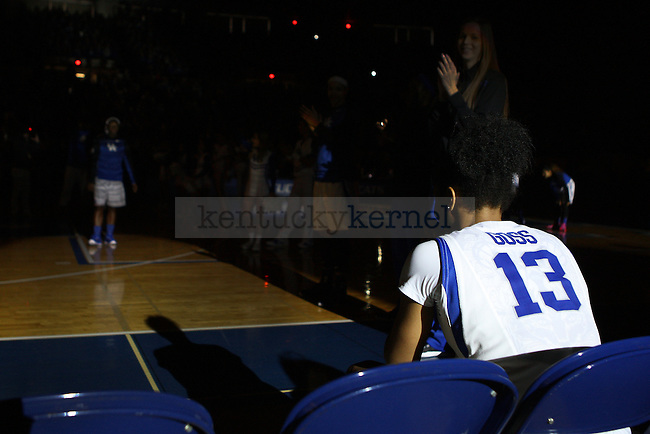 Guard Bria Goss of the Kentucky Wildcats waits during introductions during the game against the South Carolina Gamecocks at Memorial Coliseum on Sunday, March 1, 2015 in Lexington, Ky. Kentucky defeated South Carolina 67-56. Photo by Michael M Reaves | Staff.