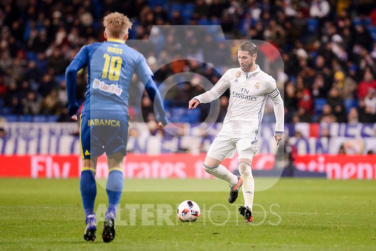 Real Madrid's Sergio Ramos and Celta de Vigo's Daniel Wass during Copa del Rey match between Real Madrid and Celta de Vigo at Santiago Bernabeu Stadium in Madrid, Spain. January 18, 2017. (ALTERPHOTOS/BorjaB.Hojas)