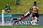 Sherwin Stowers dives over to score the second of the Steelers tries.  Air New Zealand Cup Rugby Union match between Counties Manukau and Taranaki played at Growers Stadium, Pukekohe, on Saturday 23 August 2009.
