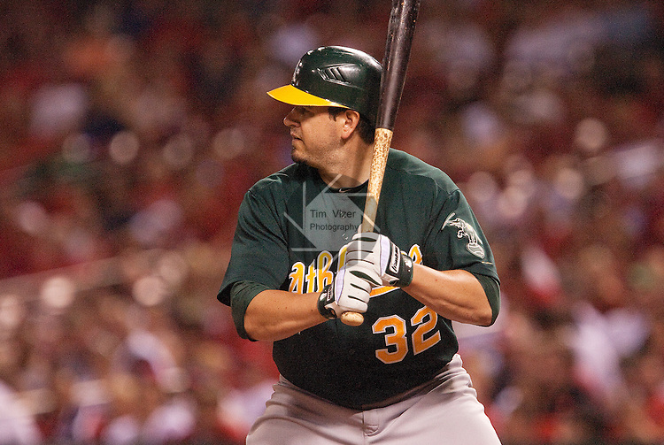 June 18, 2010      Oakland Athletics left fielder Jack Cust (32) pinch hits late in the game.  The St. Louis Cardinals defeated the Oakland Athletics 6-4 in the first game of a three-game homestand at Busch Stadium in downtown St. Louis, MO on Friday June 18, 2010.