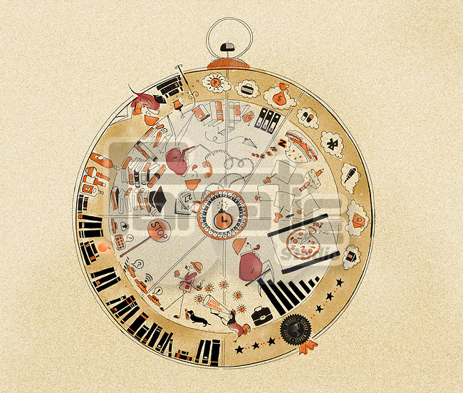 Illustrative image of education and business plan in pocket watch representing time management