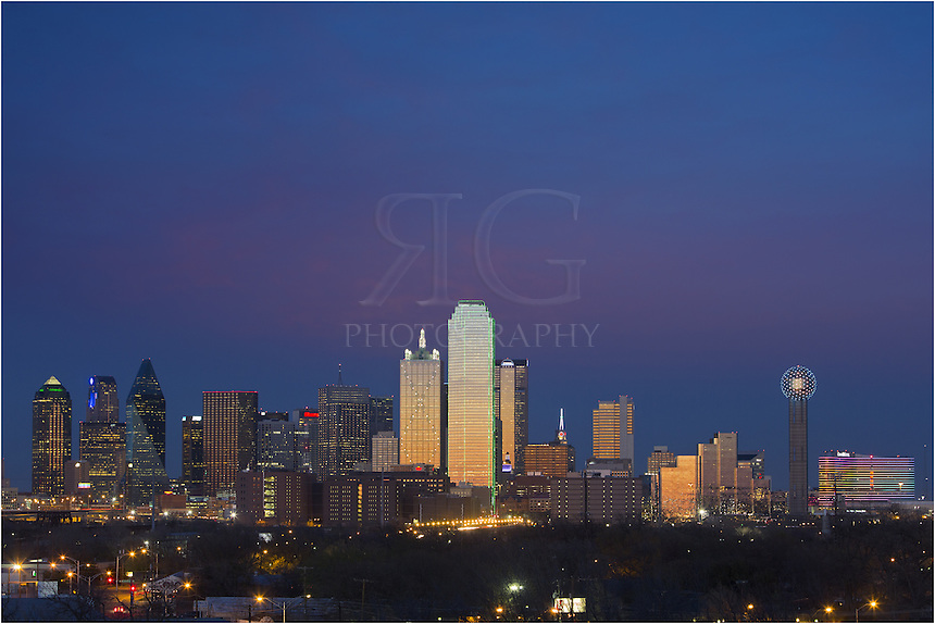 From the east side of Dallas, this Dallas skyline picture was taken in mid March. The iconic Reunion Tower is on the right, lighting up the night with ever-changing colors. The sounds of I-30 with rush waning rush hour traffic was audible from this location, and I did not linger long after dark. If you photograph the Dallas cityscape from this area, bring a friend and work quickly!