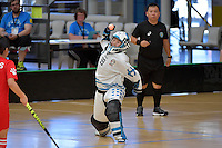 Korea's Sooyeon Choi in action during the World Floorball Championships 2017 Qualification for Asia Oceania Region - Korea v China at ASB Sports Centre , Wellington, New Zealand on Saturday 4 February 2017.<br /> Photo by Masanori Udagawa<br /> www.photowellington.photoshelter.com.