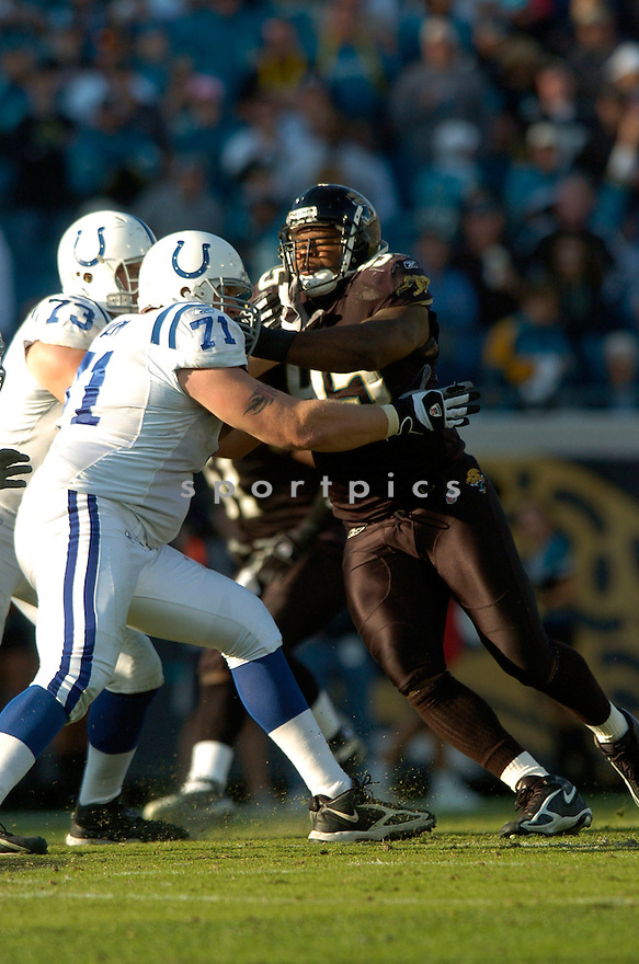 PAUL SPICER, of the Jacksonville Jaguars during their game  against the Indianapolis Colts on December 10, 2006 in Jacksonville, FL...Jaguars win 44-17..DAVID DUROCHIK / SPORTPICS