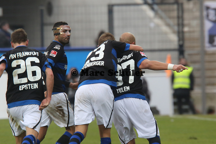 Torjubel um Zafer Yelen (FSV) beim 2:1- FSV Frankfurt vs. TSV 1860 München Frankfurter Volksbank Stadion