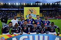 BOGOTÁ - COLOMBIA, 02-05-2018: Los jugadores de Millonarios, posan para una foto, durante partido aplazado de la fecha 16 entre Millonarios y Envigado F. C., por la Liga Aguila I 2018, jugado en el estadio Nemesio Camacho El Campin de la ciudad de Bogotá. / The players of Millonarios, pose for a photo, during a posponed match of the 16th date between Millonarios and Envigado F. C., for the Liga Aguila I 2018 played at the Nemesio Camacho El Campin Stadium in Bogota city, Photo: VizzorImage / Luis Ramírez / Staff.