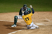 Catcher Scott Combs (35) of the Michigan State Spartans tags out Wyatt Villella (17) of the Merrimack Warriors at the plate in a game on Saturday, February 22, 2020, at Fluor Field at the West End in Greenville, South Carolina. Merrimack won, 7-5. (Tom Priddy/Four Seam Images)