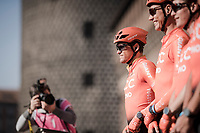 Greg VAN AVERMAET (BEL/CCC) at the sign-on podium at the race start in front of the Castello Sforzesco<br /> <br /> 110th Milano-Sanremo 2019 (ITA)<br /> One day race from Milano to Sanremo (291km)<br /> <br /> ©kramon