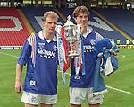Gordon Durie and Brian Laudrup with the Scottish Cup at Hampden 1996