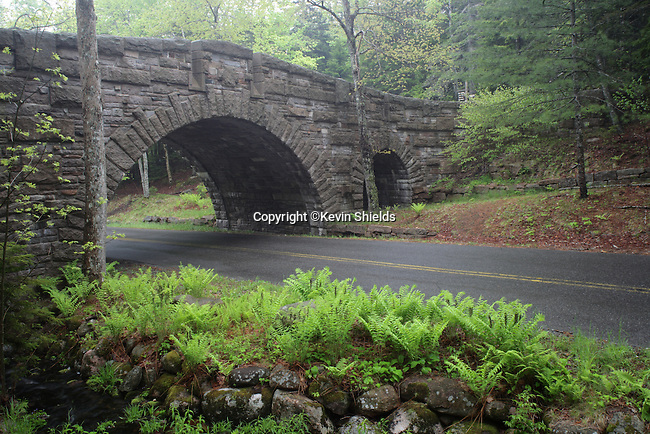 Stone bridge that carries a carriage road over a paved road in Acadia National Park, Maine, USA