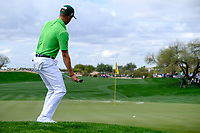Justin Thomas (USA) on the 9th green during the 3rd round of the Waste Management Phoenix Open, TPC Scottsdale, Scottsdale, Arisona, USA. 02/02/2019.<br /> Picture Fran Caffrey / Golffile.ie<br /> <br /> All photo usage must carry mandatory copyright credit (&copy; Golffile | Fran Caffrey)