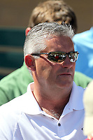 Kevin Towers, general manager of the Arizona Diamondbacks, watches his team play against the Chicago Cubs in a spring training game at Salt River Fields on March 13, 2011 in Scottsdale, Arizona. .Photo by:  Bill Mitchell/Four Seam Images.