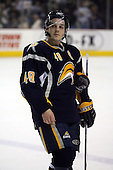 February 17th 2007:  Danny Briere (48) of the Buffalo Sabres waits for the Bruins to return to the ice after officials reset the clock vs. the Boston Bruins at HSBC Arena in Buffalo, NY.  The Bruins defeated the Sabres 4-3 in a shootout.
