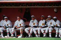 SAN FRANCISCO, CA - Matt Williams of the San Francisco Giants sits in the dugout with his teammates during a turn back the clock game against the Chicago Cubs at Candlestick Park in San Francisco, California in 1991. Photo by Brad Mangin