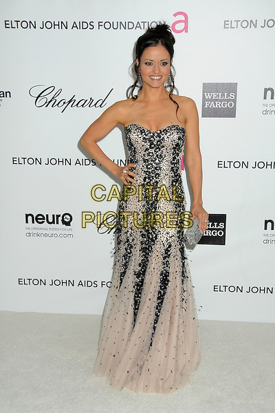 Danica McKellar.20th Annual Elton John Academy Awards Viewing Party held at West Hollywood Park, West Hollywood, California, USA..February 26th, 2012.full length black beige pink strapless dress beads beaded hand on hip.CAP/ADM/BP.©Byron Purvis/AdMedia/Capital Pictures.