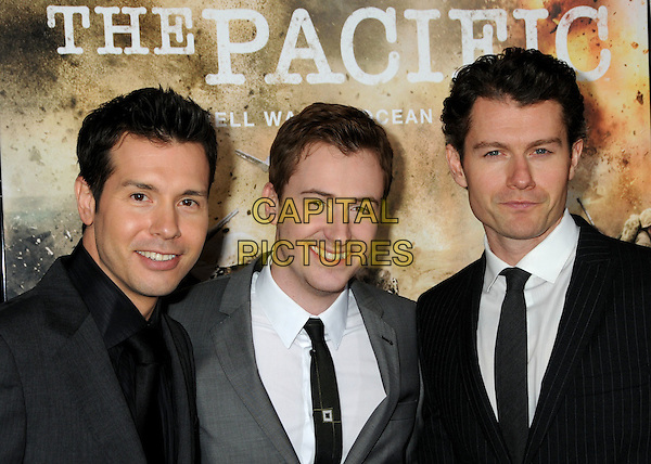 """JON SEDA, JOSEPH MAZZELLO & JAMES BADGE DALE.HBO's """"The Pacific"""" Mini-Series Premiere held at Grauman's Chinese Theatre, Hollywood, California, USA..February 24th, 2010.half length suit jacket black grey gray tie white shirt .CAP/ADM/BP.©Byron Purvis/AdMedia/Capital Pictures."""