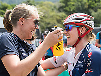 Picture by Alex Broadway/SWpix.com - 09/09/17 - Cycling - UCI 2017 Mountain Bike World Championships - XCO - Cairns, Australia - Annie Last of Great Britain celebrates after winning Silver in the Women's Elite Cross Country Final.
