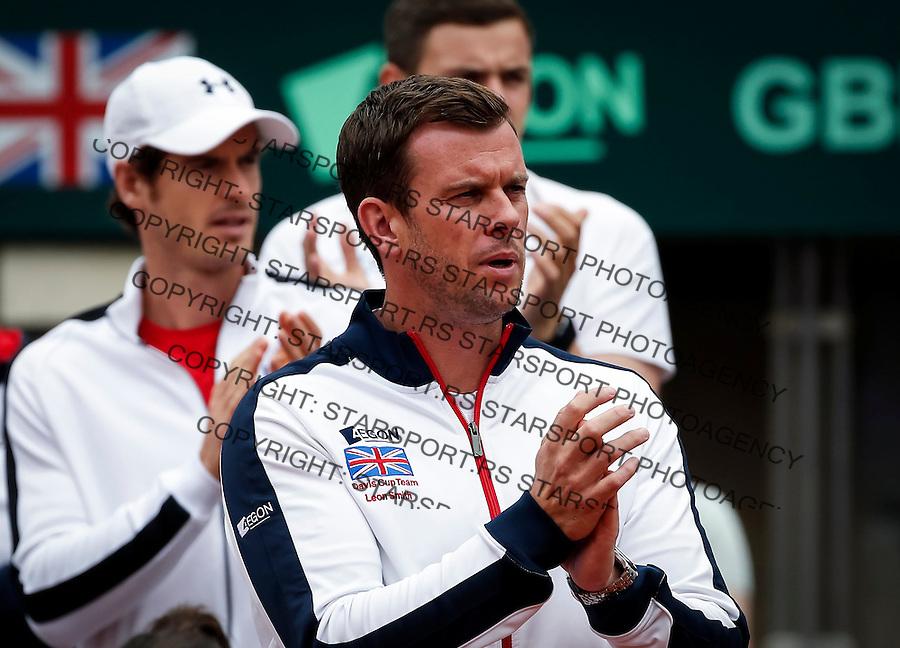 Davis Cup 2016 Quarter Final<br /> Srbija v Velika Britanija<br /> Dusan Lajovic SRB v James Ward GBR<br /> Team captain Leon Smith and Andy Murray (L)<br /> Beograd, 16.07.2016.<br /> Foto: Srdjan Stevanovic/Starsportphoto.com&copy;