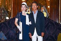 elena sivoldaeva et francesco mitrano lors de la conference de presse d ouverture de la quatrieme monte carlo polo cup se deroulant au casino de monte carlo le jeudi 15 septembre 2016
