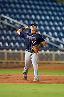 Jacksonville Jumbo Shrimp third baseman Brian Schales (13) throws to first base during a game against the Pensacola Blue Wahoos on August 15, 2018 at Blue Wahoos Stadium in Pensacola, Florida.  Jacksonville defeated Pensacola 9-2.  (Mike Janes/Four Seam Images)
